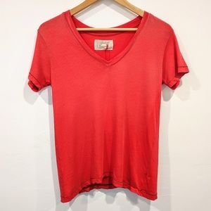 Current/Elliott Distressed Red Ombre Tee Shirt 1